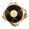 Stack of old vinyl records Royalty Free Stock Photo