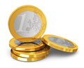 Stack of one euro coins business finance banking and success concept on white background Royalty Free Stock Photography