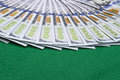 Stack of one hundred dollar bills. Stack of cash money in hundred dollar banknotes. Heap of hundred dollar bills on green poker Royalty Free Stock Photo