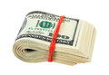 Stack of one hundred dollars banknotes wrapped by rubber on white background Royalty Free Stock Photo