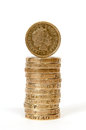 Stack of one pound coins a gbp with facing towards the camera Stock Image