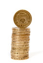 Stack of one pound coins a gbp with facing towards the camera Royalty Free Stock Photography