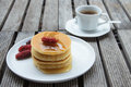 Stack of pancakes with fresh fruit delicious fruits Royalty Free Stock Photos