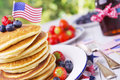 Stack of pancakes with fresh fruit Royalty Free Stock Photo