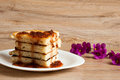 Stack of pancakes with jam gooseberry a Royalty Free Stock Photos