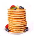 Stack of Pancakes Strawberry and Blueberry isolated Royalty Free Stock Photo