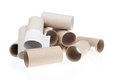Stack of paper tube isolated on white background Royalty Free Stock Photo
