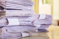 Stack of papers white on the table Stock Images