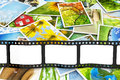 Stack of photos with film blank Royalty Free Stock Images