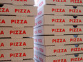 Stack of pizza boxes image the Stock Photo