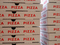 Stack of pizza boxes image the Royalty Free Stock Photos