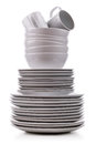 Stack of plates white and dishes Royalty Free Stock Photos