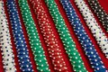 Stack of poker chips on red background at casino Royalty Free Stock Photo