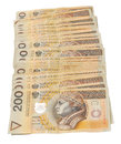 A stack of Polish 200 zloty notes Royalty Free Stock Images