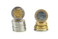 Stack of polish zloty and euro coins isolated on white background with clipping path Stock Images