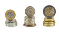 Stack of polish zloty pound and euro coins Royalty Free Stock Photo