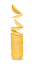 A stack of potato chips on Royalty Free Stock Photo