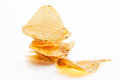 Stack of potato chips on white background Stock Photo