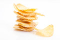 Stack of potato chips on white background Royalty Free Stock Images