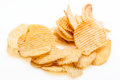 Stack of potato chips on white background Royalty Free Stock Photography