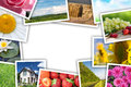 Stack of printed pictures collage Royalty Free Stock Photos