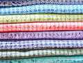 Stack of printed  silk fabric Royalty Free Stock Photo