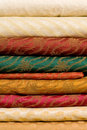 Stack of printed silk fabrics Stock Images