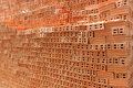 Stack of red bricks Royalty Free Stock Images