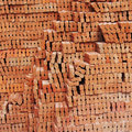 Stack of red clay brick prepare for construction Stock Photos