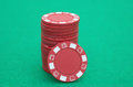 Stack of red poker chips Royalty Free Stock Photo