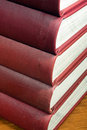 Stack of Red Reference Books Royalty Free Stock Photography