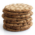 Stack of round rye crispbreads isolated on white. Royalty Free Stock Photo