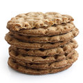 Stack of round rye crispbreads isolated on white. One broken in Royalty Free Stock Photo