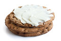 Stack of round rye crispbreads isolated on white. Top one spread Royalty Free Stock Photo