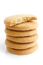 Stack of round shortbread biscuits isolated on white. Half biscu Royalty Free Stock Photo