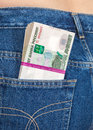 Stack of russian rouble bills in the jeans pocket back Stock Images