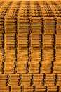 Stack of rusty reinforcing mesh on a building site left out in the weather and rusting Royalty Free Stock Photos