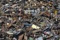 stack of scrap metal at recycling junkyard Royalty Free Stock Photo