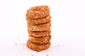 Stack of sesame cookies Stock Images