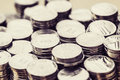 Stack of silver coins money Royalty Free Stock Photo