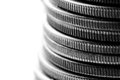 Stack of silver coins representing wealth and prosperity closeup Royalty Free Stock Photo