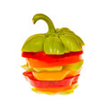 Stack of sliced bell peppers red yellow green and orange Royalty Free Stock Photo