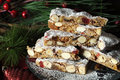 Stack of slices of traditional festive Christmas Italian style Panforte