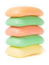 Stack of soap  different colors isolated on white background Royalty Free Stock Photo
