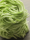 Stack of Spinach Noodles Stock Photo