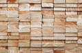 Stack of square wood planks for building materials Royalty Free Stock Photo