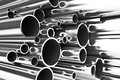 Stack of steel tubing, stainless tubes Royalty Free Stock Photo
