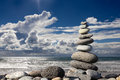 Stack of stones on the beach Royalty Free Stock Photo