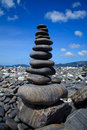 Stack of stones on the beach, Lipe, Thailand Stock Photo