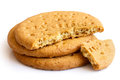 Stack of sweetmeal digestive biscuits isolated on white Royalty Free Stock Photos